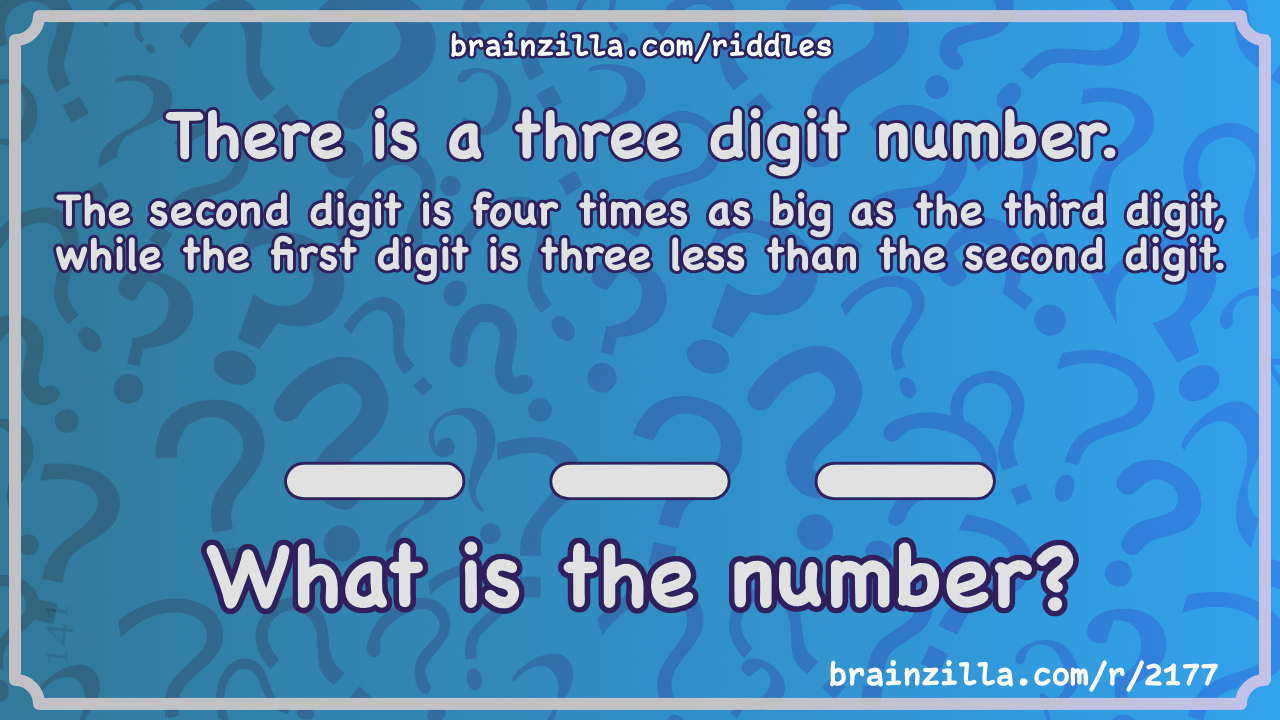 There Is A Three Digit Number The Second Digit Is Four Times As Big Riddle Answer Brainzilla