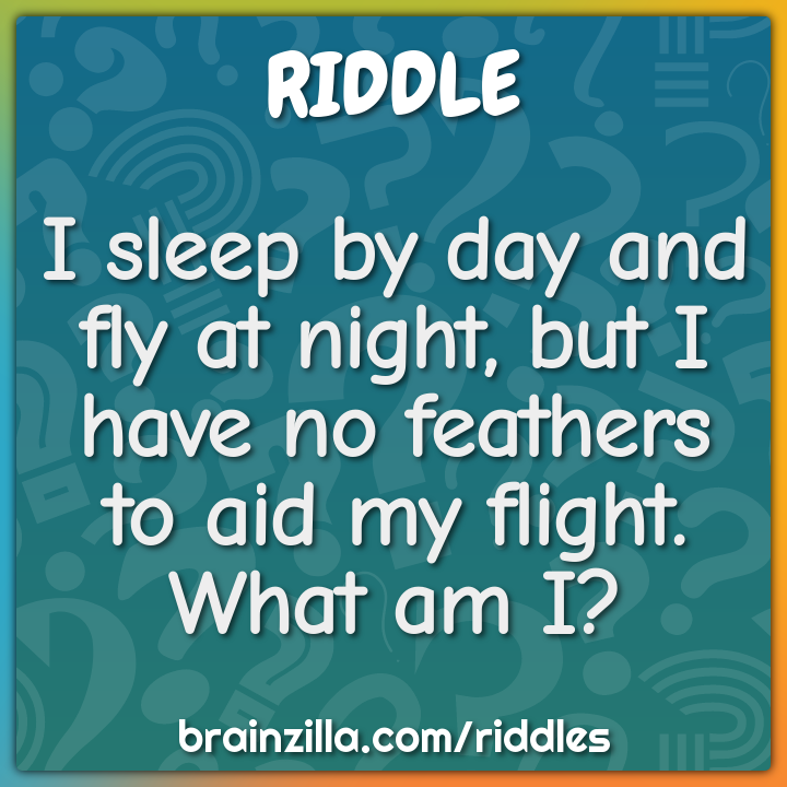 I sleep by day and fly at night, but I have no feathers to aid my...