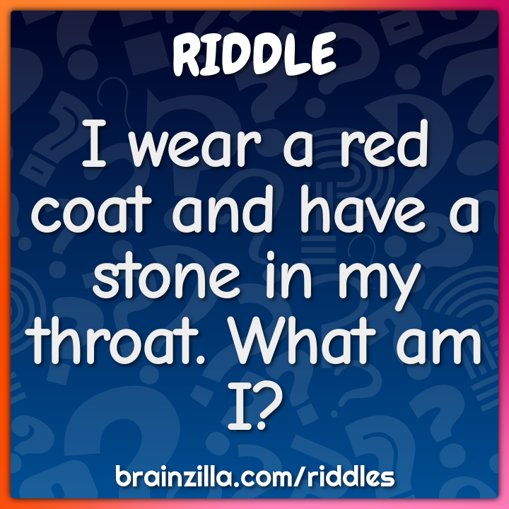 I wear a red coat and have a stone in my throat.