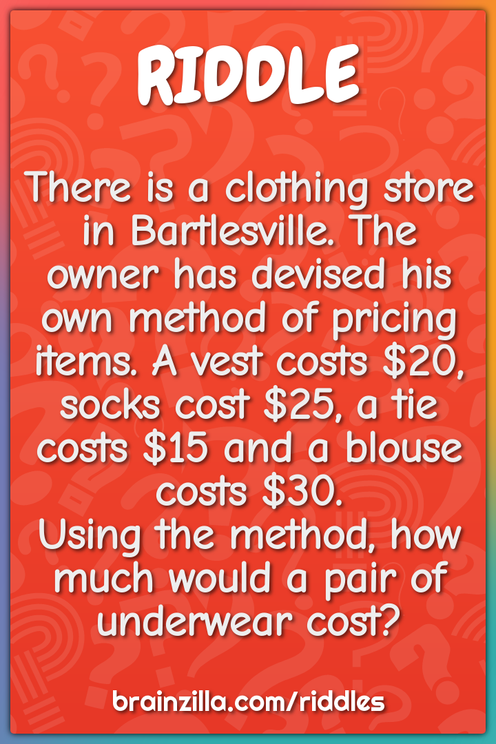 There is a clothing store in Bartlesville. The owner has devised his...