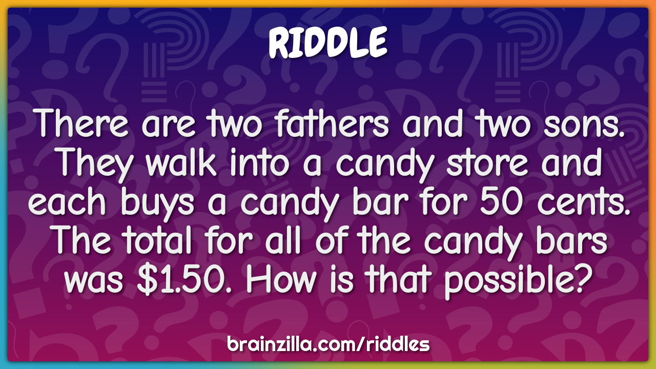 There are two fathers and two sons. They walk into a candy store and...