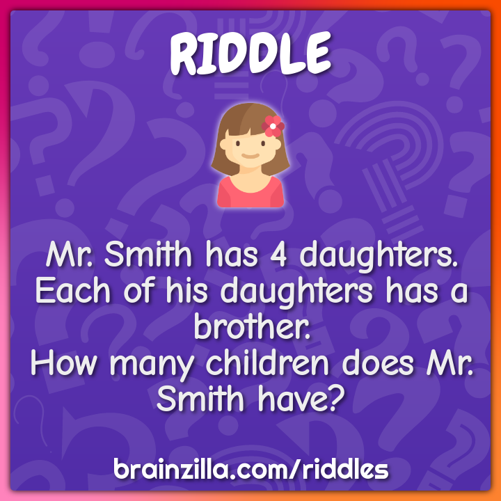 Mr. Smith has 4 daughters. Each of his daughters has a brother. How...