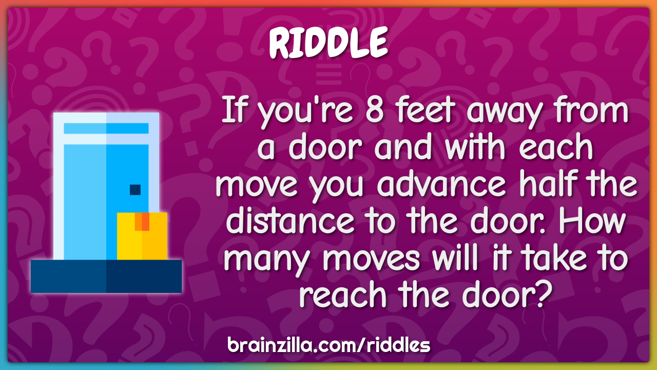 If you're 8 feet away from a door and with each move you advance half...