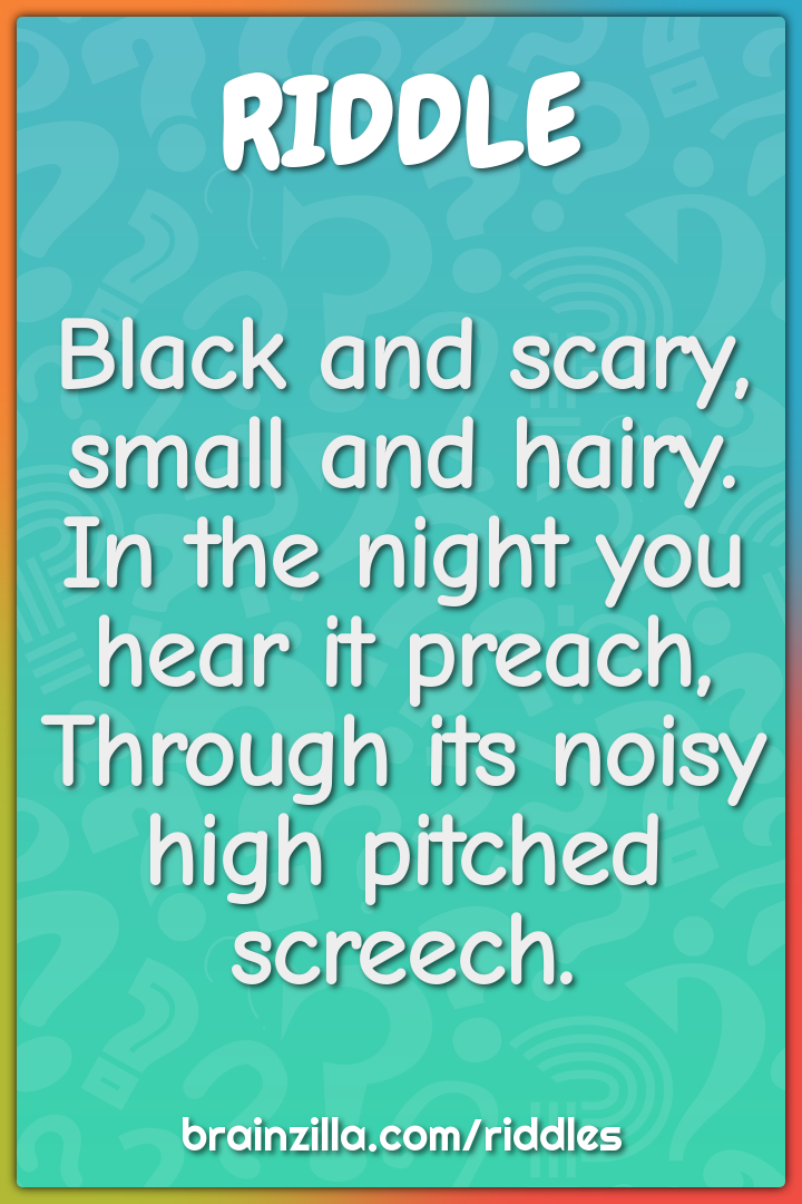 Black and scary, small and hairy.  In the night you hear it preach,...