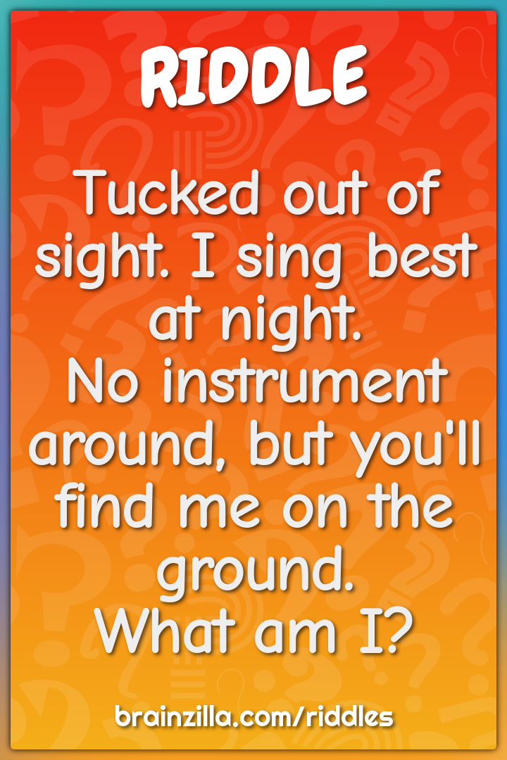 Tucked out of sight. I sing best at night.  No instrument around, but...