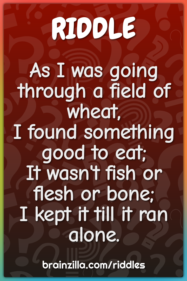 As I was going through a field of wheat,  I found something good to...