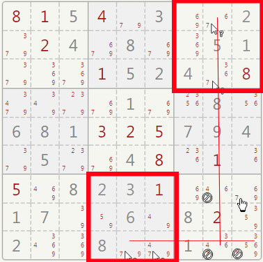 Sudoku crossing pairs example.