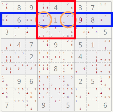 Sudoku hidden pair example.