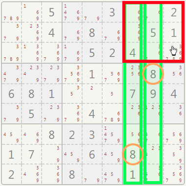 Sudoku hidden single example.