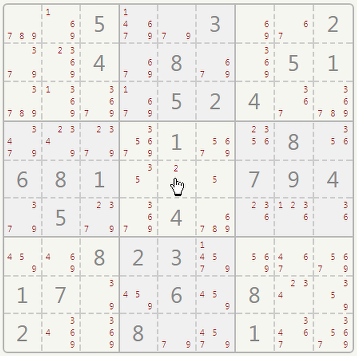 Sudoku naked single example.