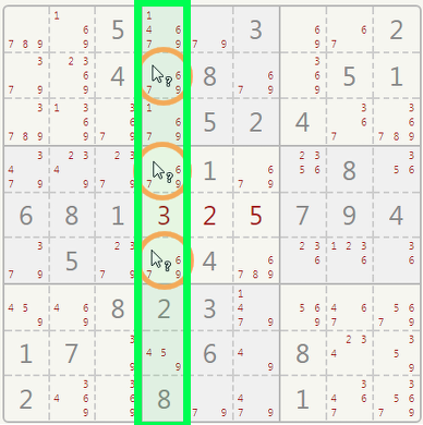 Sudoku triples in a column.