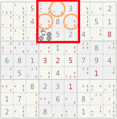 Sudoku triples in a sector.
