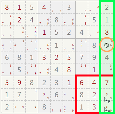 Sudoku pointing pair example.