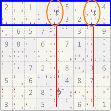 Sudoku x-wings example.