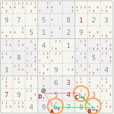 Sudoku xy-wings example.